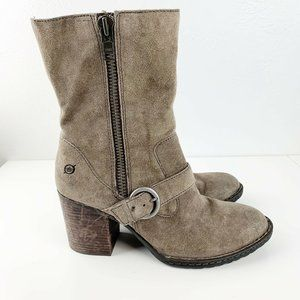 Born Mid Calf Heeled Taupe Distressed Suede Boots